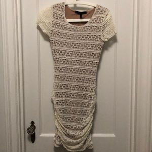 BCBG bodycon lace dress with ruching on the sides